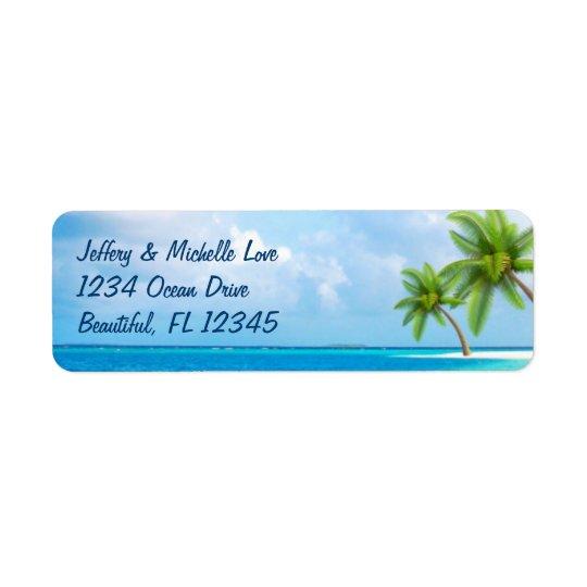 Étiquette Adresse tropicale de plage de palmiers