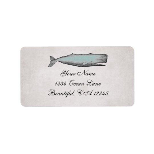 Étiquette Adresse victorienne vintage de plage de baleine