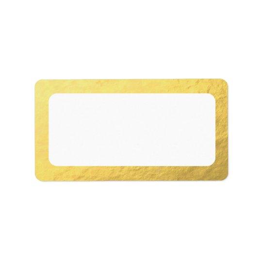 Étiquette Adresse vide d'or de Faux