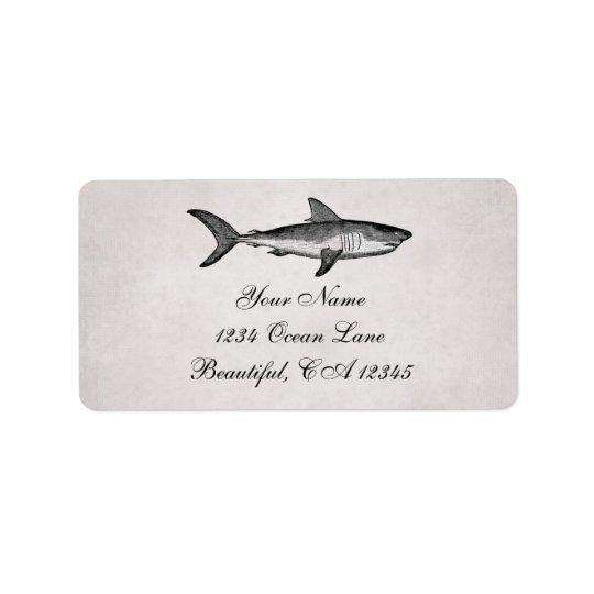 Étiquette Adresse vintage de plage d'océan de requin