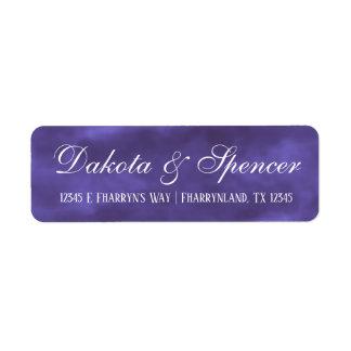Étiquette Adresse violette royale pourpre d'aquarelle du
