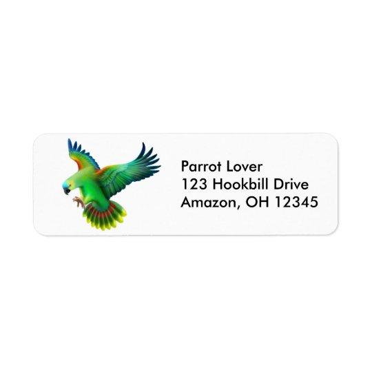Étiquette affronté bleu de perroquet d'Amazone
