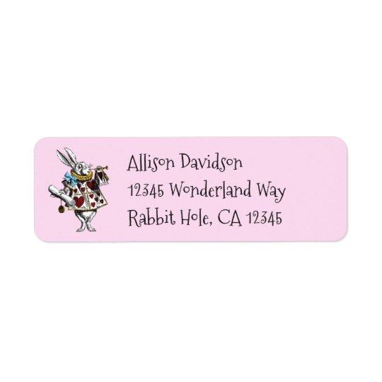 Étiquette Alice de charme chez le lapin de blanc du pays des