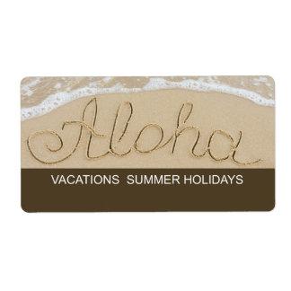 Étiquette Aloha mot de sable