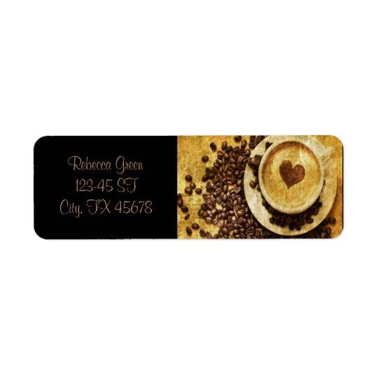 Étiquette Amant chic de café de grains de café de cappuccino