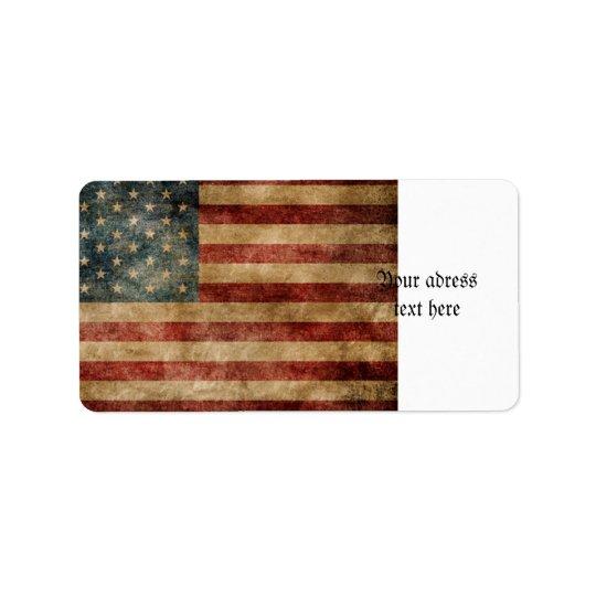Étiquette americana rustique, drapeau des Etats-Unis,
