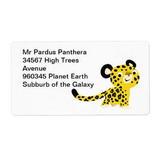 Étiquette amical de léopard de bande dessinée mign étiquette d'expédition