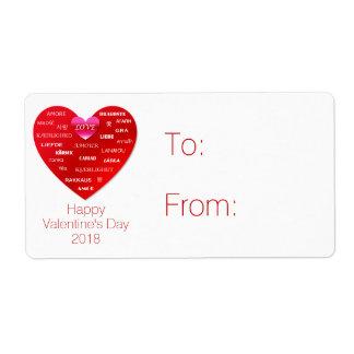 Étiquette Amour rouge de heureuse Sainte-Valentin dans