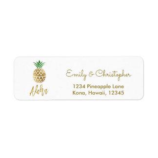 Étiquette Ananas de mariage de manuscrit de feuille d'or
