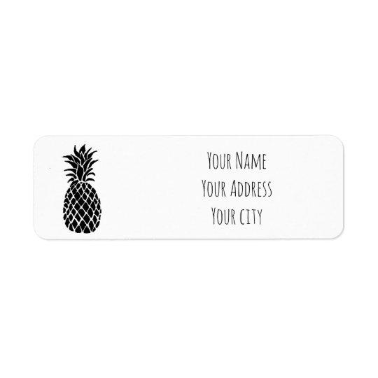 Étiquette ananas noir et blanc