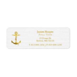 Étiquette Ancre d'or avec les cadeaux nautiques de la corde