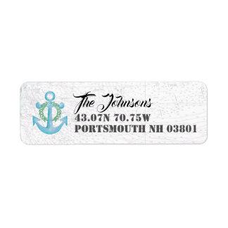 Étiquette Ancre nautique d'aquarelle de vacances du New