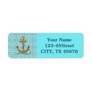 Étiquette ancre nautique de marin de damassé de turquoise de