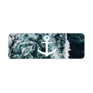 Étiquette Ancre nautique sur l'arrière - plan de photo