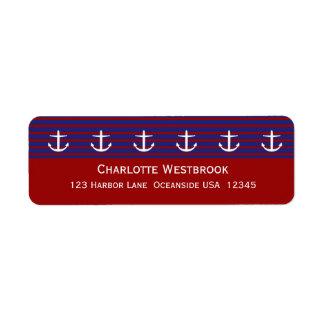 Étiquette Ancres nautiques sur la rayure classique personnal