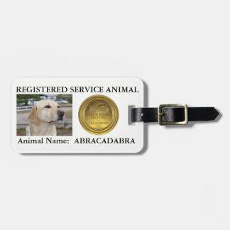 Étiquette animale enregistrée de service (avec étiquette à bagage