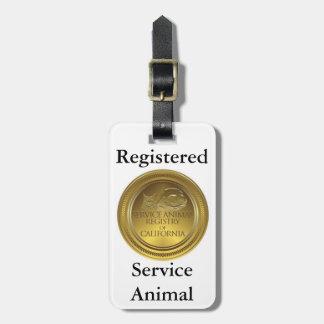 Étiquette animale enregistrée de service (taille étiquette à bagage