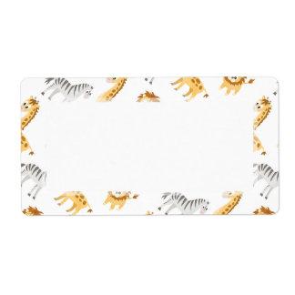 Étiquette Animaux mignons de bébé de lion et de girafe de