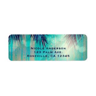 Étiquette Anniversaire ensoleillé d'été de palmiers de rétro