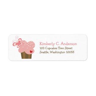 Étiquette Anniversaire rose lunatique de fille de papillon