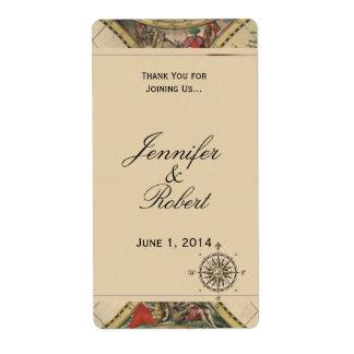 Étiquette antique de vin de mariage de carte de