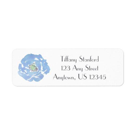 Étiquette Aquarelle bleue | floral personnalisé