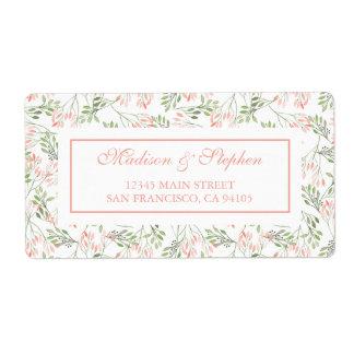 Étiquette Aquarelle botanique de vert et de rose - mariage