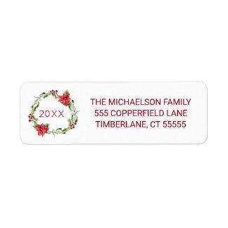 Étiquette Aquarelle de Noël | - guirlande de gui et de houx