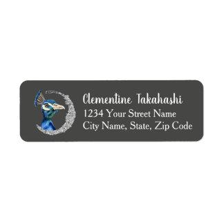 Étiquette Aquarelle de paon avec des parties scintillantes