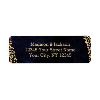 Étiquette Aquarelle et or de bleu marine épousant l'adresse