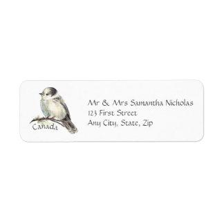 Étiquette Aquarelle grise, oiseau de ressortissant du Canada