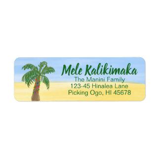Étiquette Aquarelle hawaïenne d'étiquette de adresse de