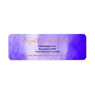 Étiquette Aquarelle pourpre ultra-violette   avec le texte