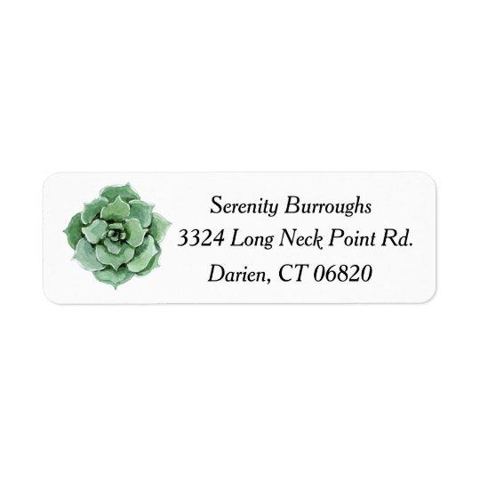 Étiquette Aquarelle succulente verte en bon état de cactus
