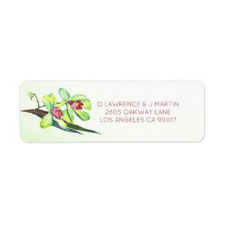 Étiquette Aquarelle verte d'orchidées florale