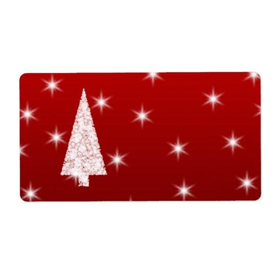 Étiquette Arbre de Noël blanc avec des étoiles sur le rouge