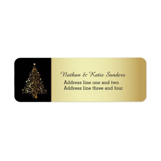 Étiquette Arbre de Noël fleuri d'or