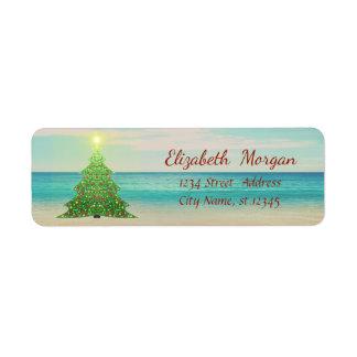 Étiquette Arbre de Noël tropical, plage