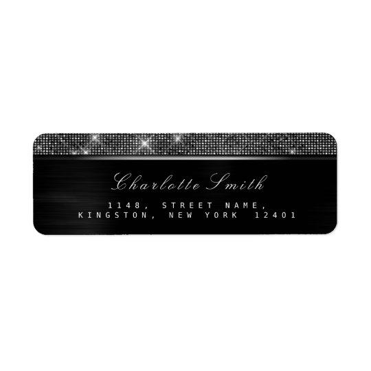 Étiquette Argent de luxe blanc noir scintillant RSVP