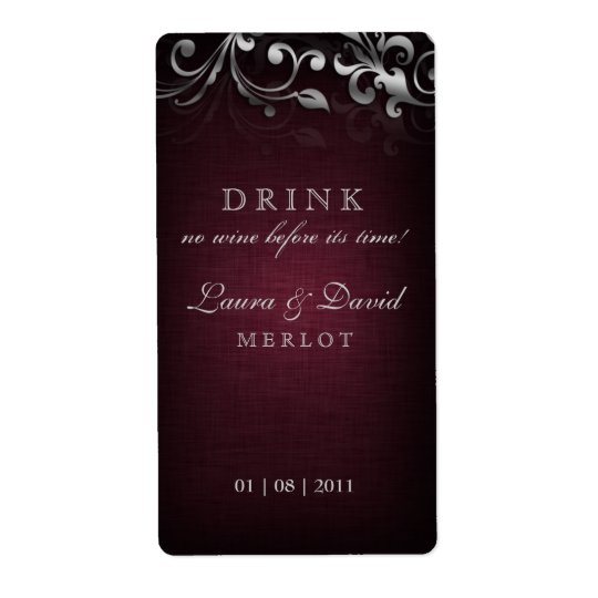 Étiquette Argent de toile de rouge de Bourgogne de vin de