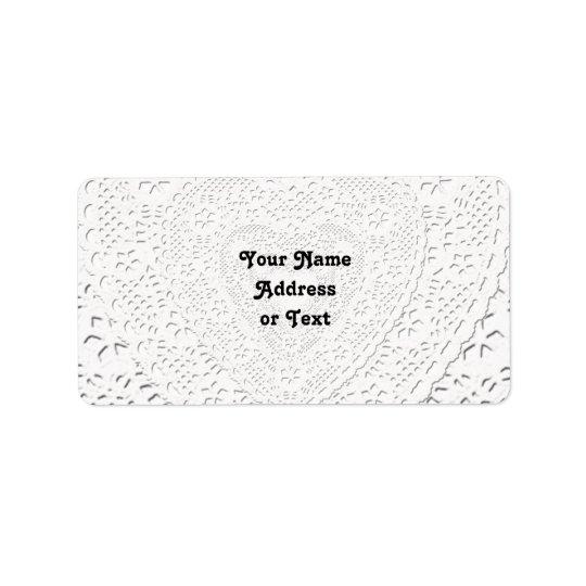 Étiquette Arrière - plan blanc de tissu de dentelle de Faux