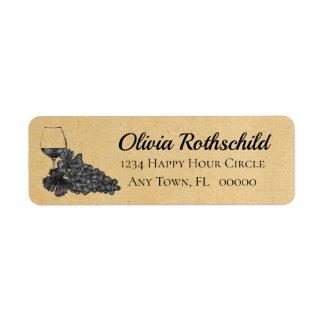 Étiquette Arrière - plan de papier de raisins en verre de