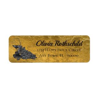 Étiquette Arrière - plan d'or de raisins en verre de vin
