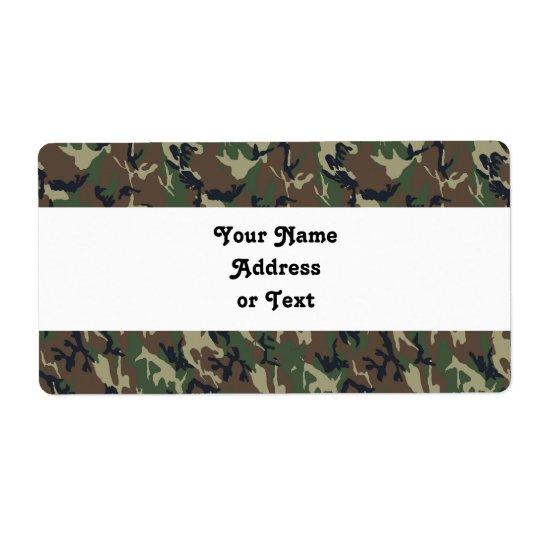 Étiquette Arrière - plan militaire de camouflage de forêt