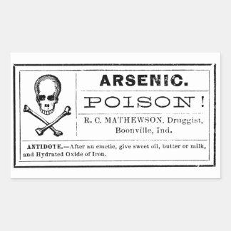 Étiquette arsenical vintage de poison sticker rectangulaire