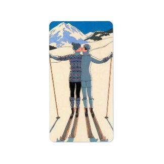 Étiquette Art déco vintage, amants dans la neige par George