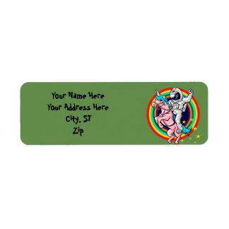 Étiquette Astronaute montant une licorne