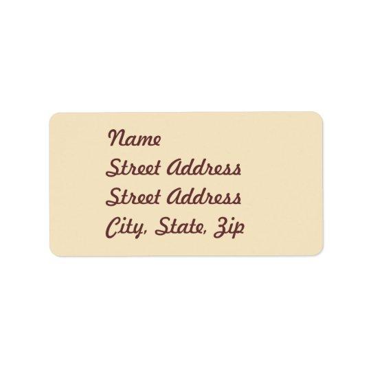 Étiquette Autocollant crème d'adresse