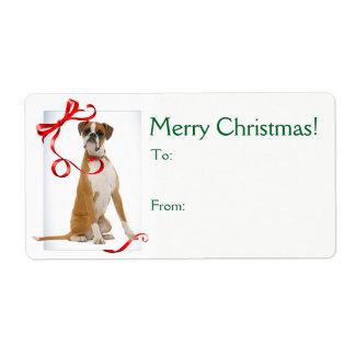 Étiquette Autocollants de cadeau de Noël de boxeur
