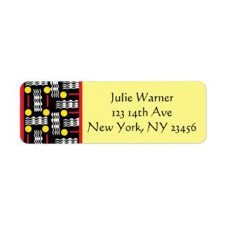Étiquette Autocollants rouges, noirs, jaunes d'adresse de